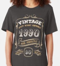 30th Birthday Gift Gold Vintage 1990 Aged Perfectly Slim Fit T-Shirt