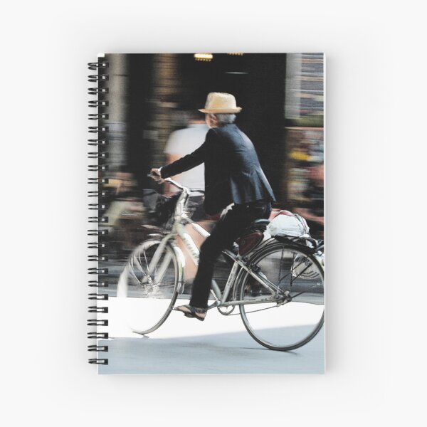 Old man on bicycle photograph Hanoi Vietnam Spiral Notebook