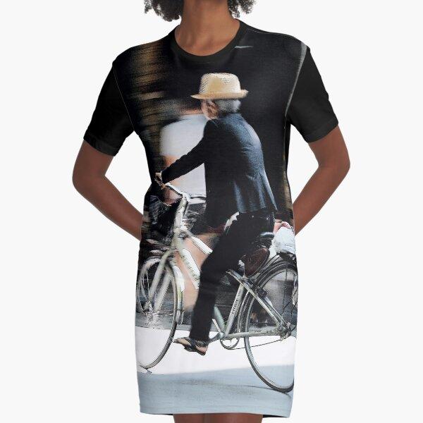 Old man on bicycle photograph Hanoi Vietnam Graphic T-Shirt Dress