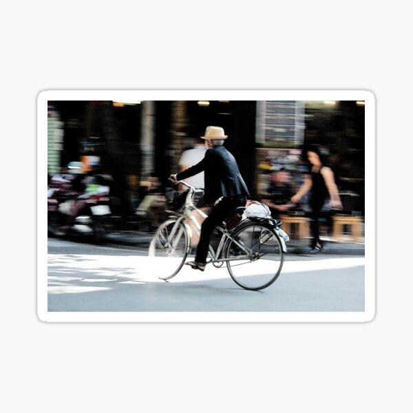 Old man on bicycle photograph Hanoi Vietnam Sticker