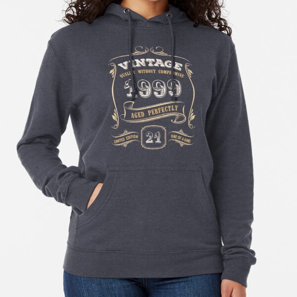 21st Birthday Gift Gold Vintage 1999 Aged Perfectly Lightweight Hoodie