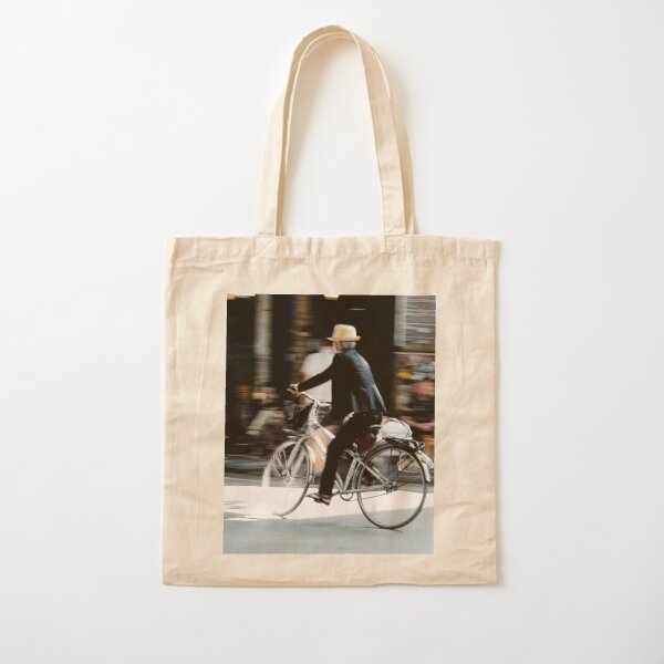 Old man on bicycle photograph Hanoi Vietnam Cotton Tote Bag