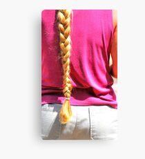 Blond ponytail. Canvas Print