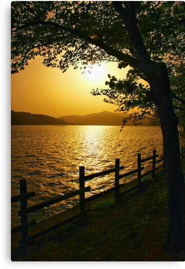 Bomunho Lake Sunset by Barbara  Brown