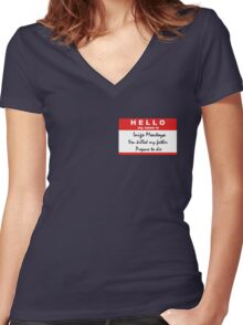 Hello, my name is Inigo Montoya Women's Fitted V-Neck T-Shirt