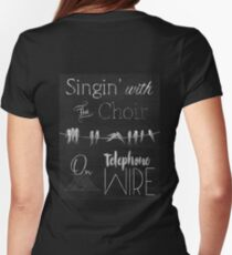 Singing Birds on a Wire chalkboard art T-Shirt