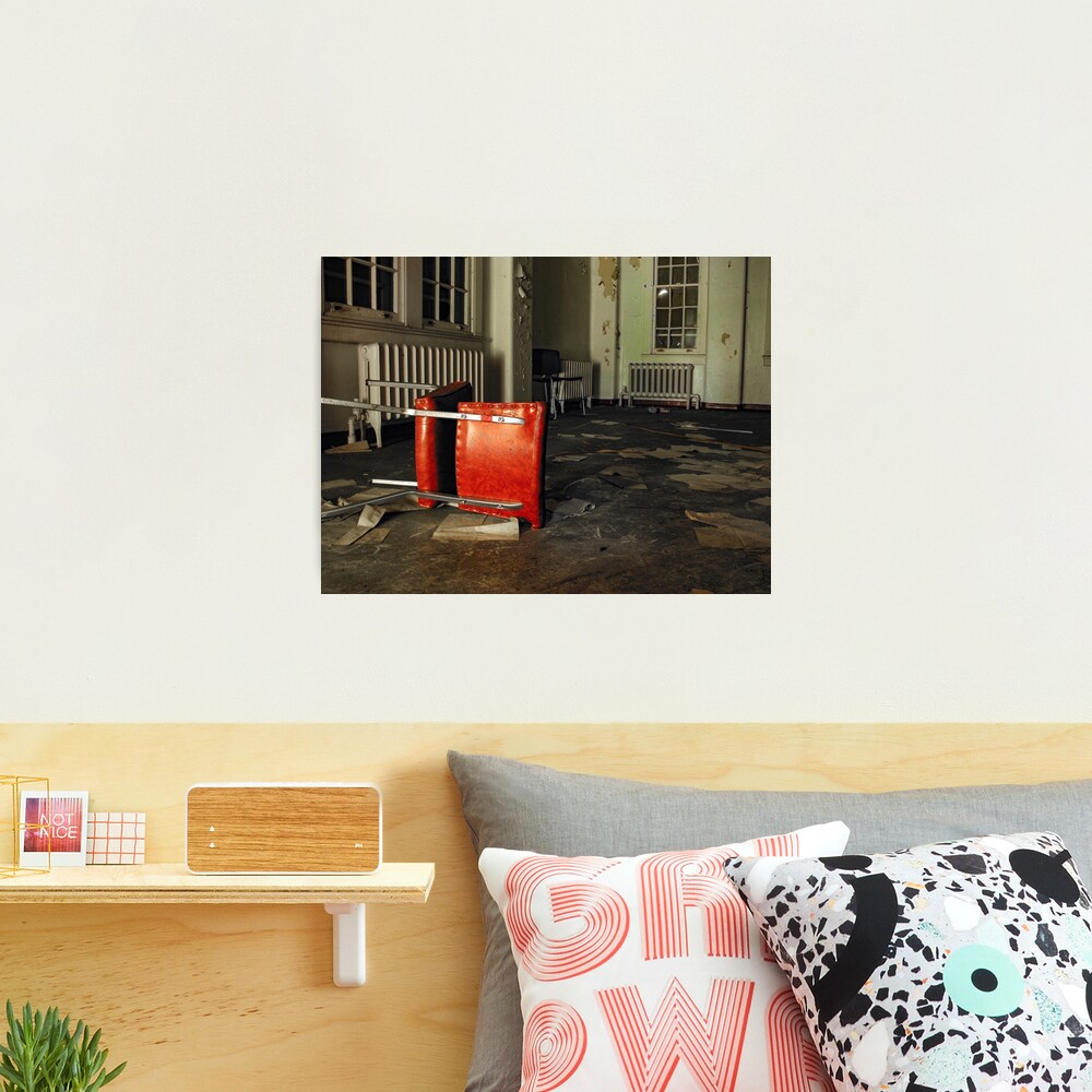 Overturned Red Chair in Abandoned Room Photographic Print