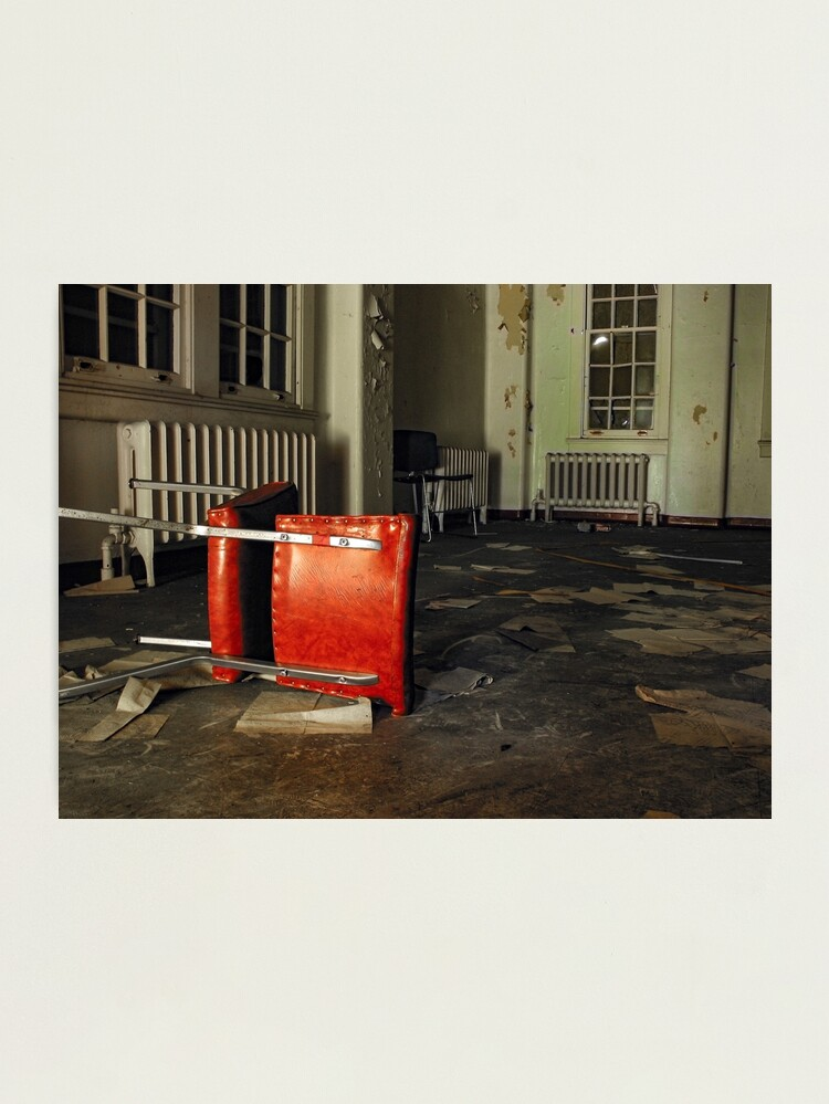 Alternate view of Overturned Red Chair in Abandoned Room Photographic Print