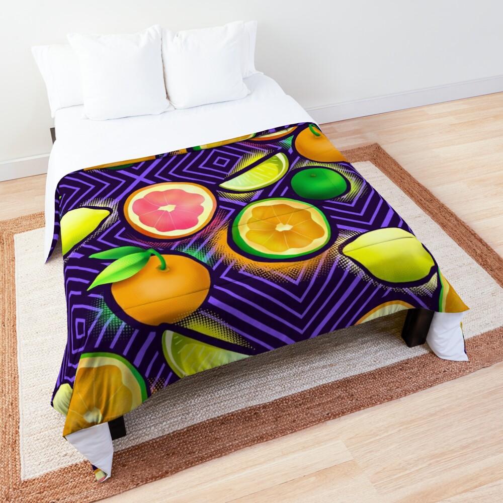 Lemonade geo violet Comforter