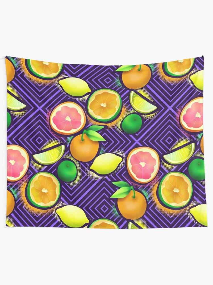 Alternate view of Lemonade geo violet Tapestry