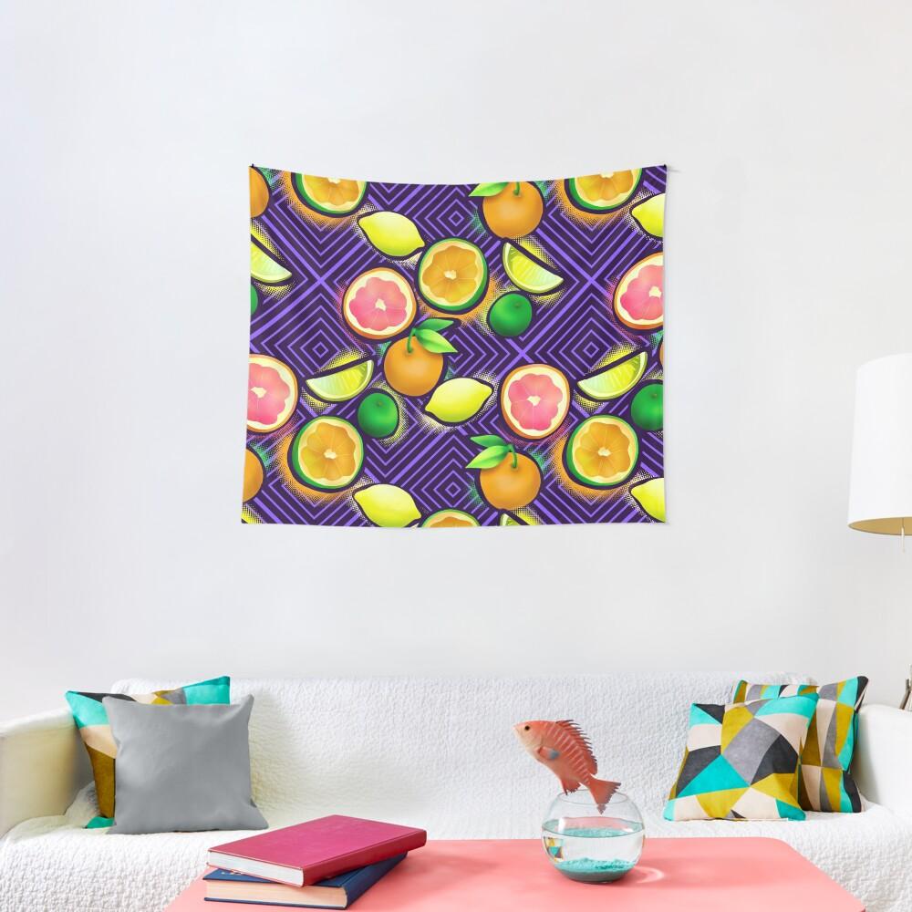 Lemonade geo violet Tapestry
