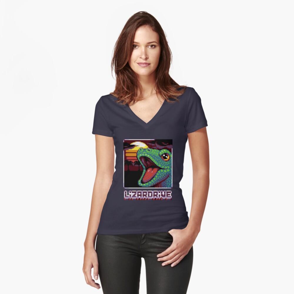 T-shirt moulant col V «LIZARDRIVE»
