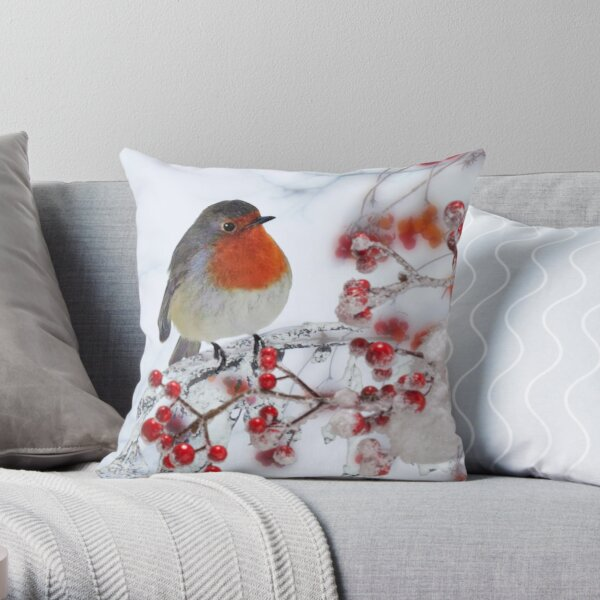 Robin Red Breast in Winter Throw Pillow