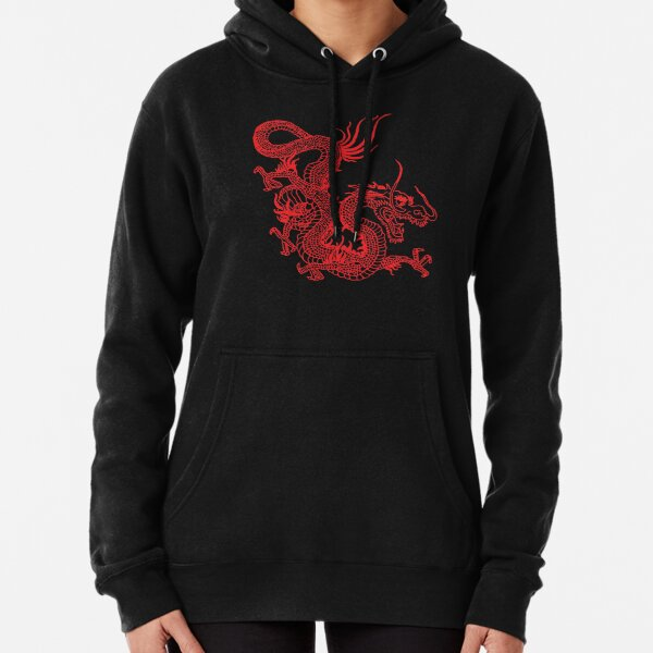 Red Chinese Dragon / Purple Background Pullover Hoodie