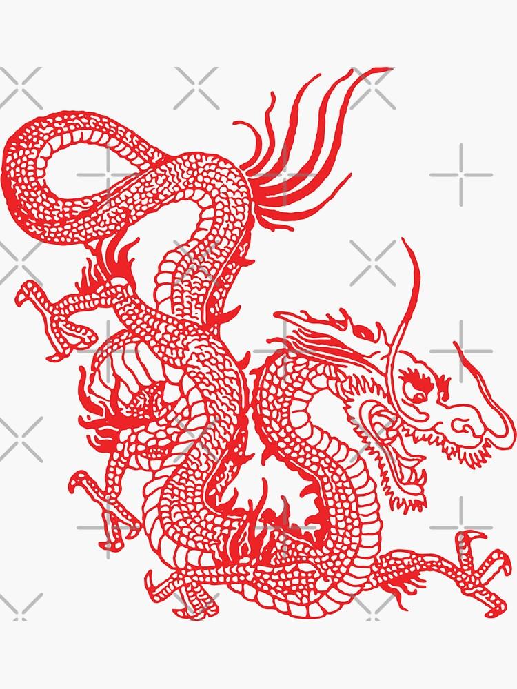 Red Chinese Dragon / Purple Background by EddieBalevo