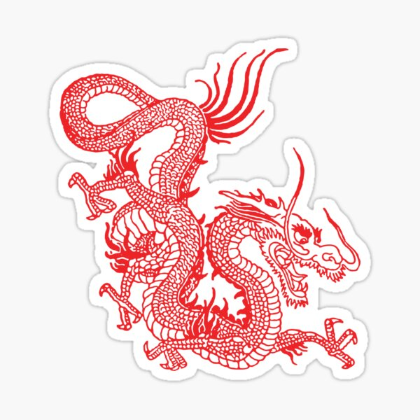 Red Chinese Dragon / Purple Background Sticker