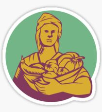 Female Organic Farmer Basket Harvest Circle Woodcut Sticker