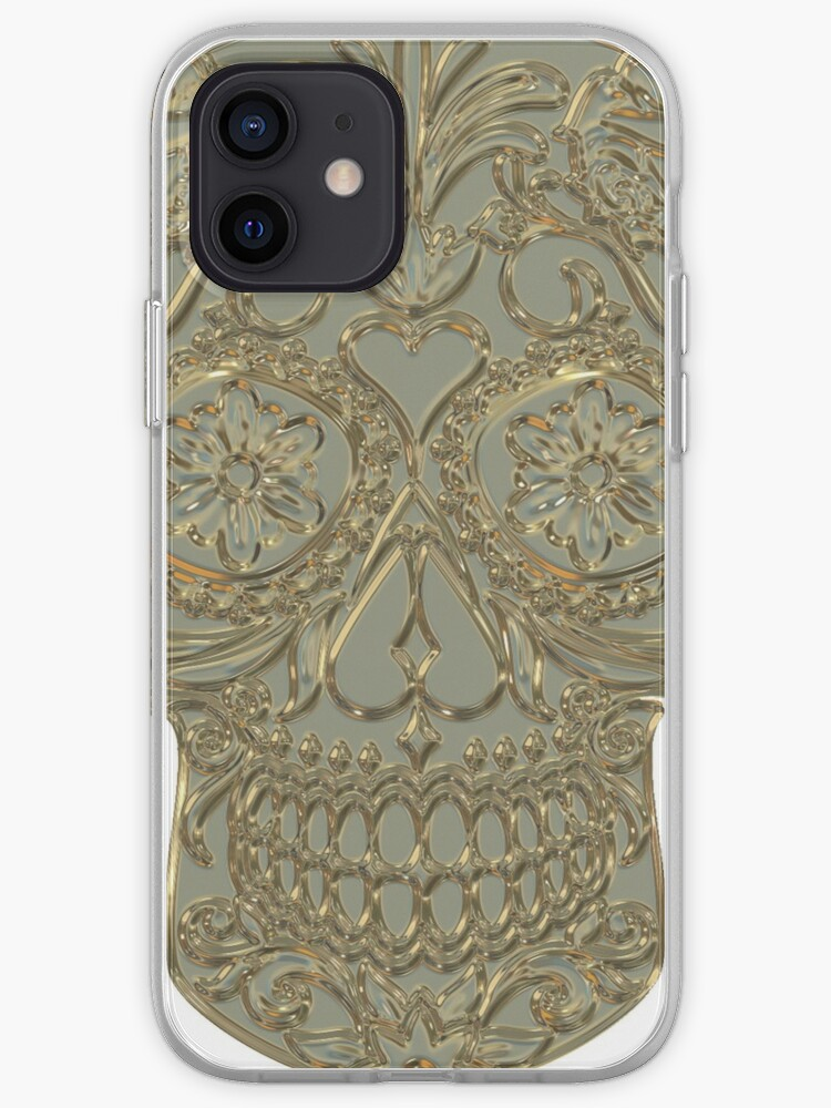 Tete de mort dorée   Coque iPhone