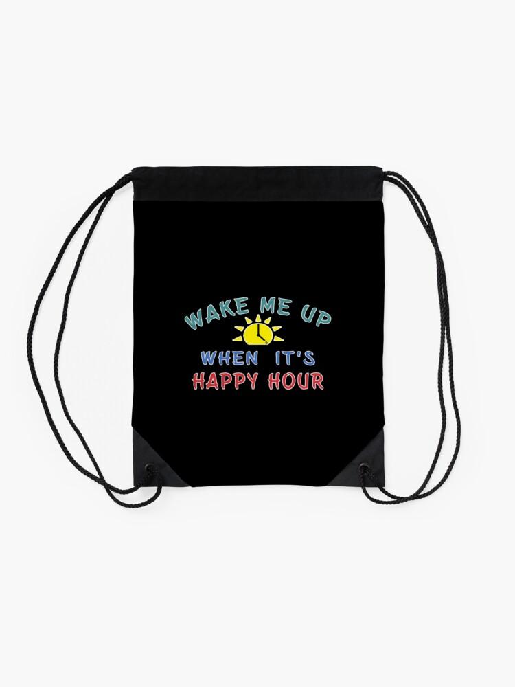 Alternate view of Happy Hour Moonshine Libation Liquor Mixologist. Drawstring Bag