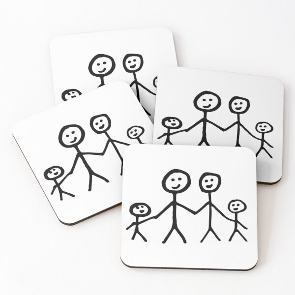 Family stick figure drawing Coasters (Set of 4)