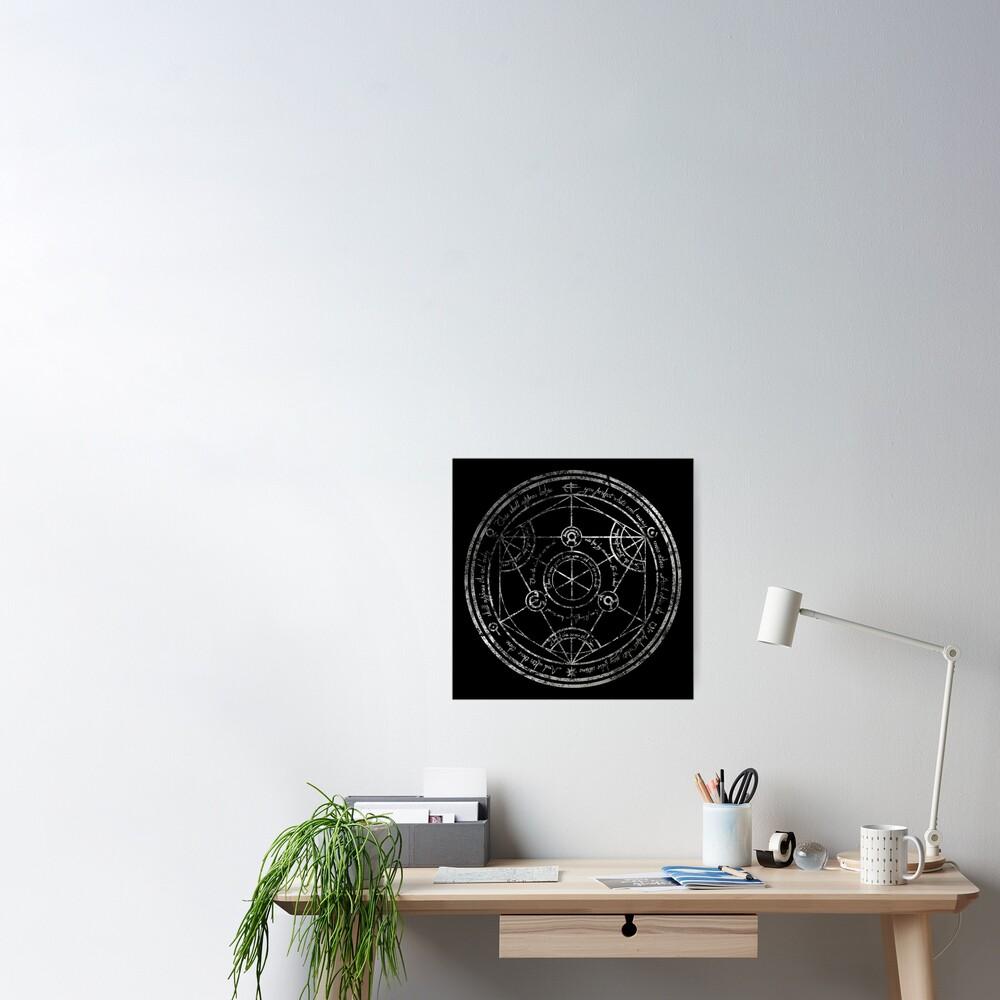 Human Transmutation Circle - silver grunge Poster