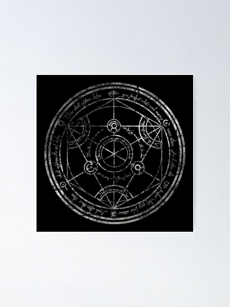 Alternate view of Human Transmutation Circle - silver grunge Poster