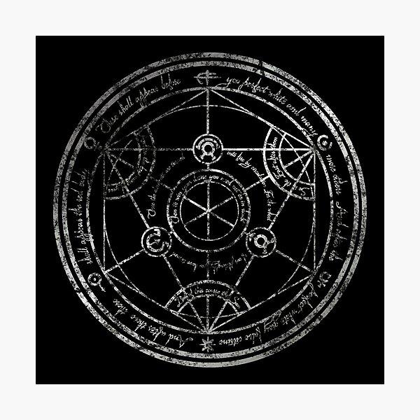 Human Transmutation Circle - silver grunge Photographic Print