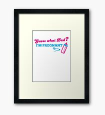 Guess what dad? I'm pregnant with baby bottle Framed Print