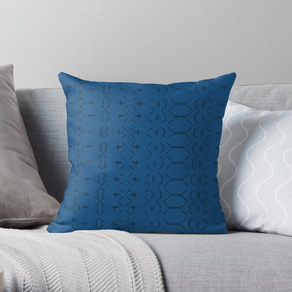 Simple geometric pattern 02 in classic blue Throw Pillow