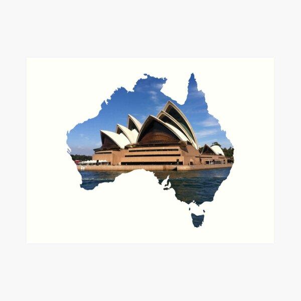 Australia with Sidney's opera house Art Print