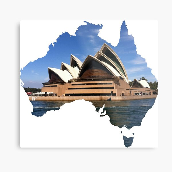 Australia with Sidney's opera house Metal Print