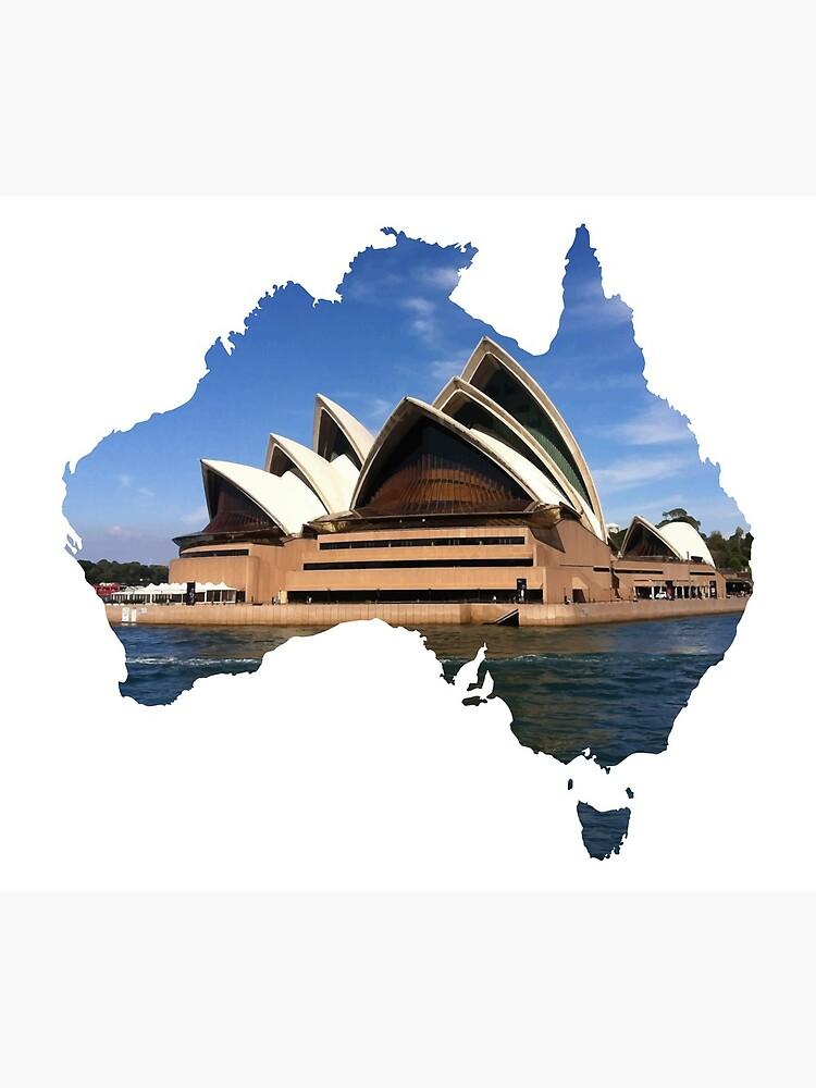 Australia with Sidney's opera house by liesjes