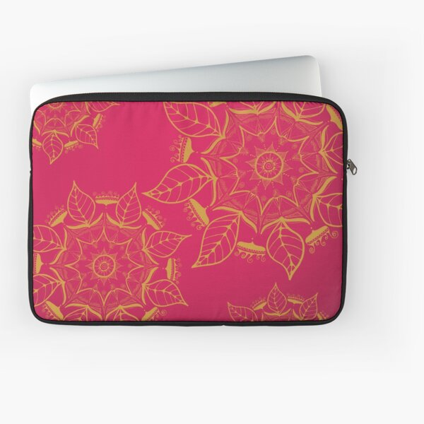 hand-painted mandalas in gold-yellow on red Laptop Sleeve
