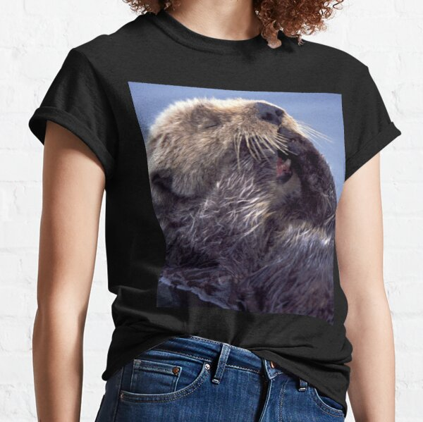 A Southern Sea Otter, preening as it wakes from a nap. Classic T-Shirt