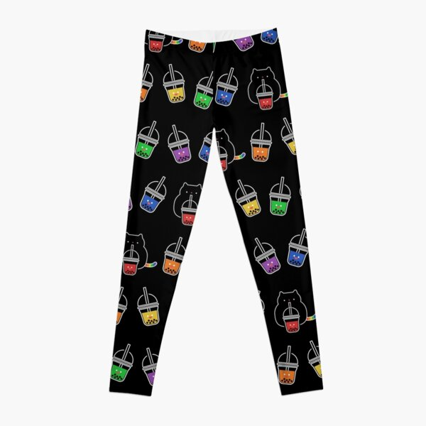 Kawaii Black Cat with Rainbow Bubble Boba Milk Tea Drink Leggings