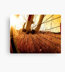 Cycling In A Wheat Field Canvas Print
