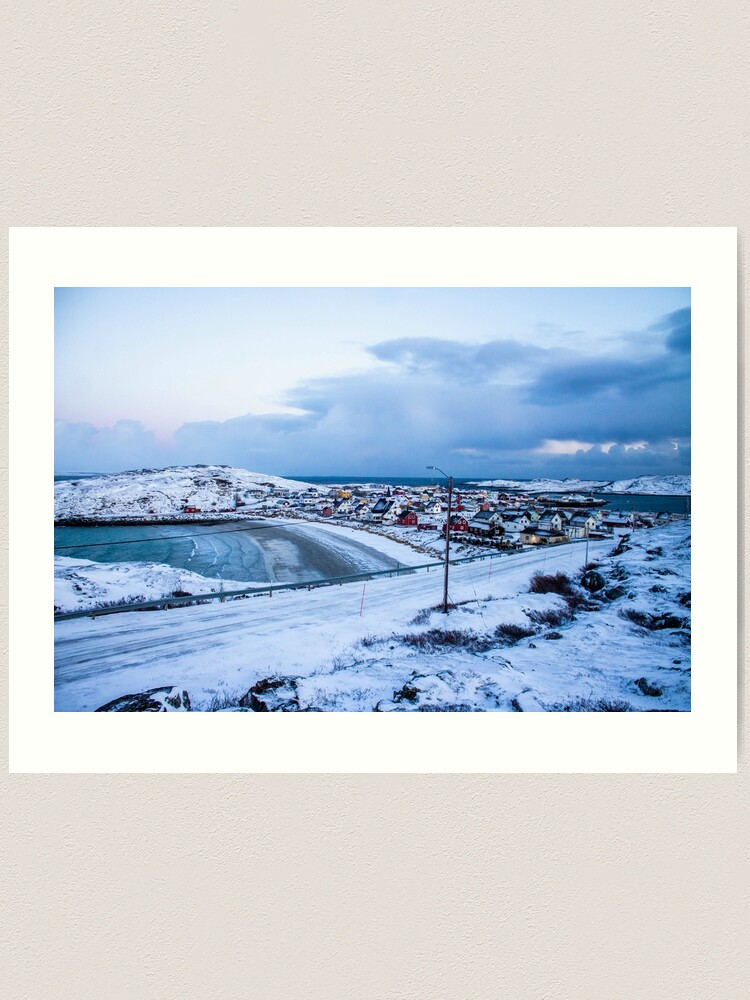 Alternate view of Bugøynes, Norway - Small fishing town at the arctic sea Art Print