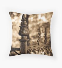 Sepia Antique Fence Rustic Abstract Photograph Bodenkissen