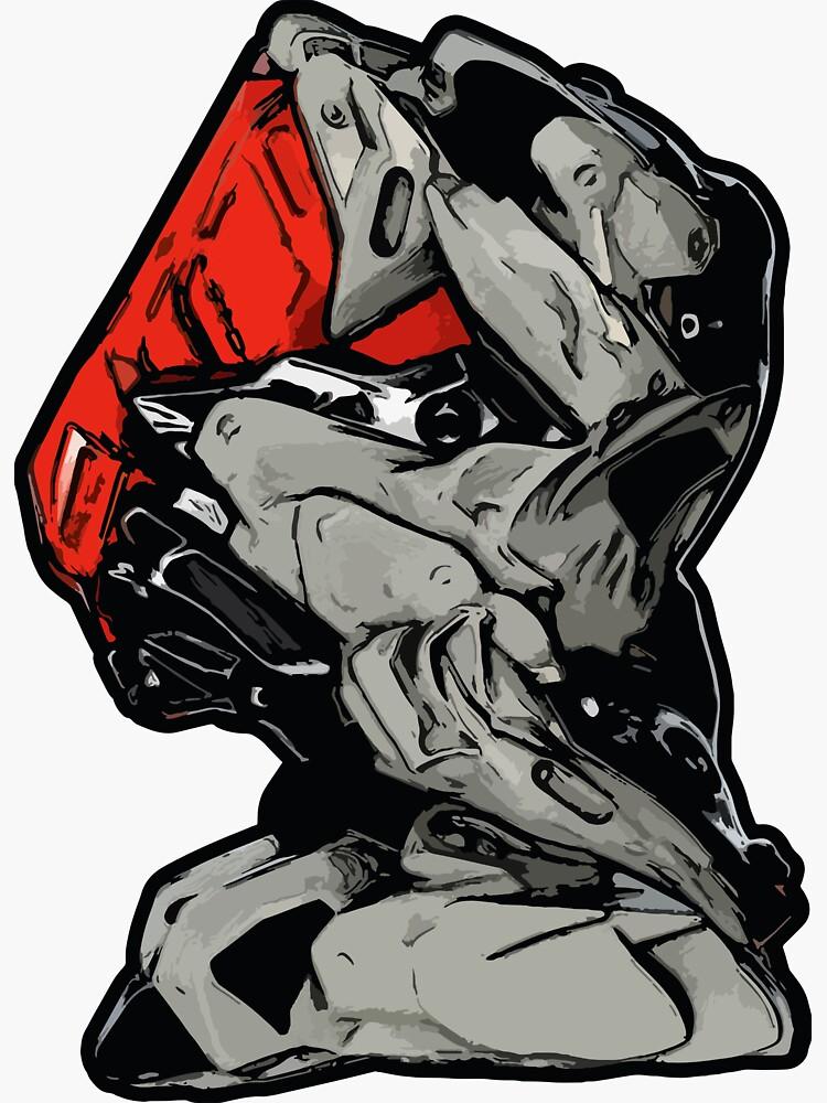 MECHANIZAM V Clean Red - Sticker (Cyberpunk Mech Robot Android 3D-Render Digital Art) von nenART-Official