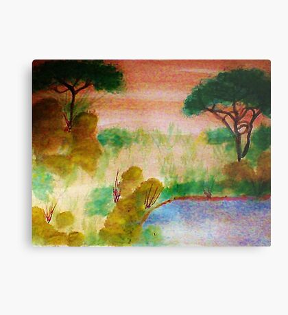 Africa Series,no frame, yet, the watering hole, watercolor Metal Print
