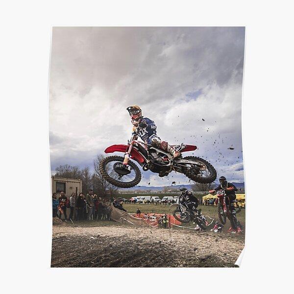 Motocross Racer Grabbing Big Air Poster