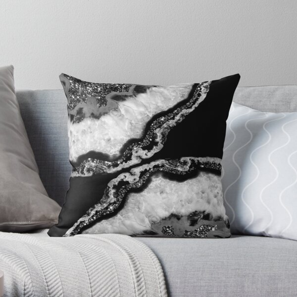 Yin Yang Agate Glitter Glam #4 (Faux Glitter)  #gem #decor #art  Throw Pillow