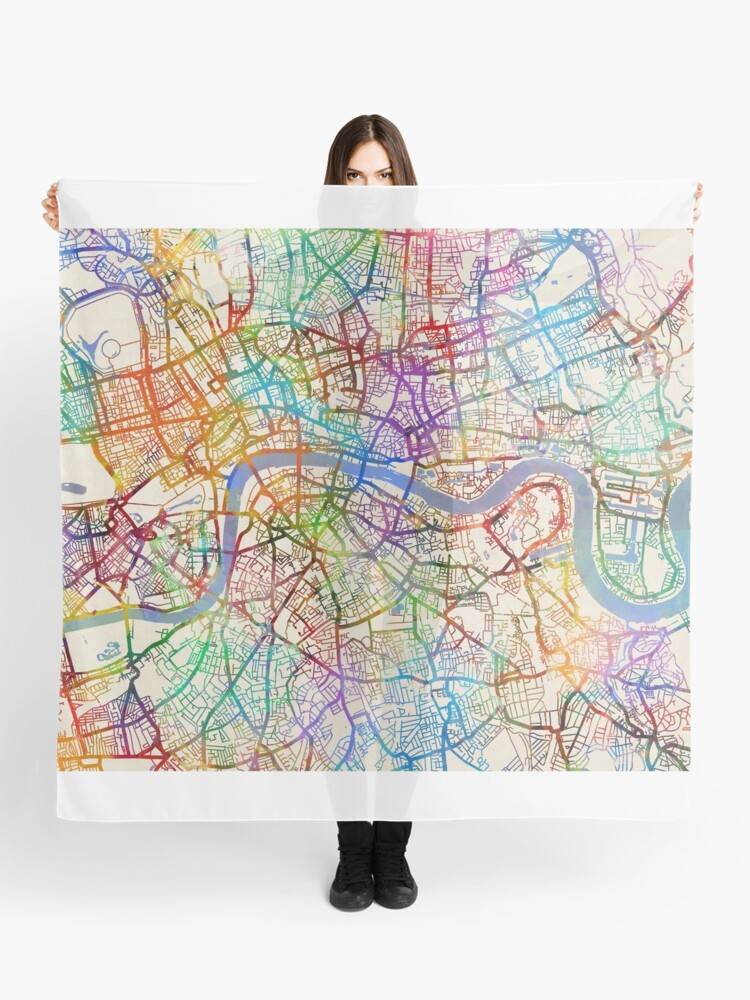 London In England Map.London England Street Map Scarf