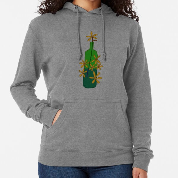 A green bottle with a flower in it Lightweight Hoodie