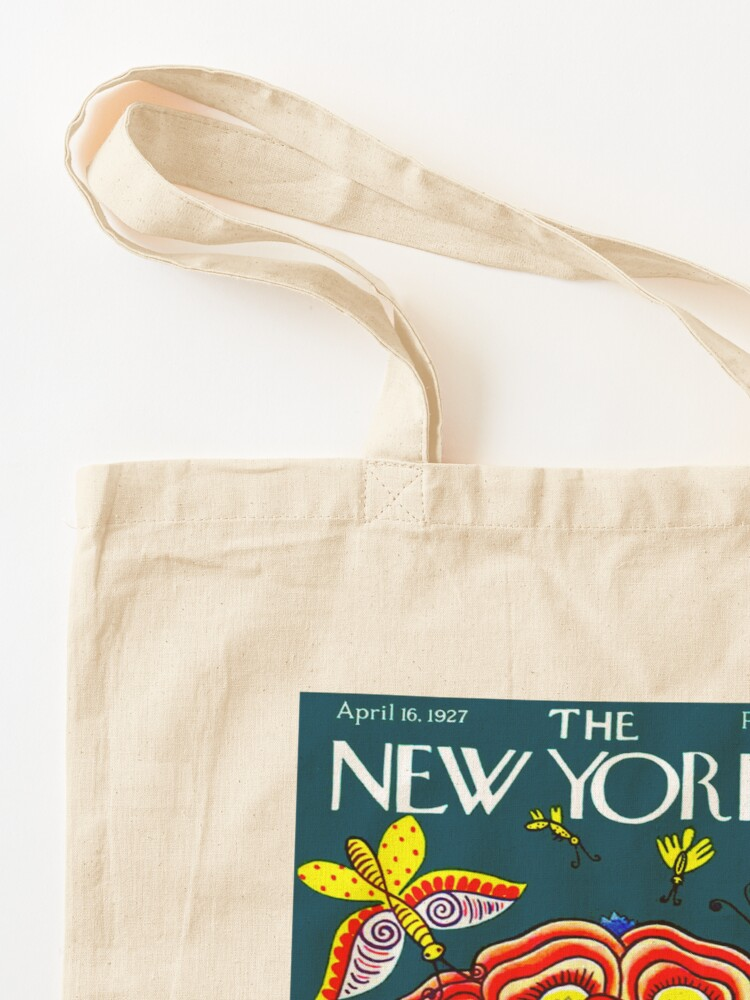 Alternate view of NEW YORKER : Vintage 1927 Flower Hat with Butterfies Print Tote Bag