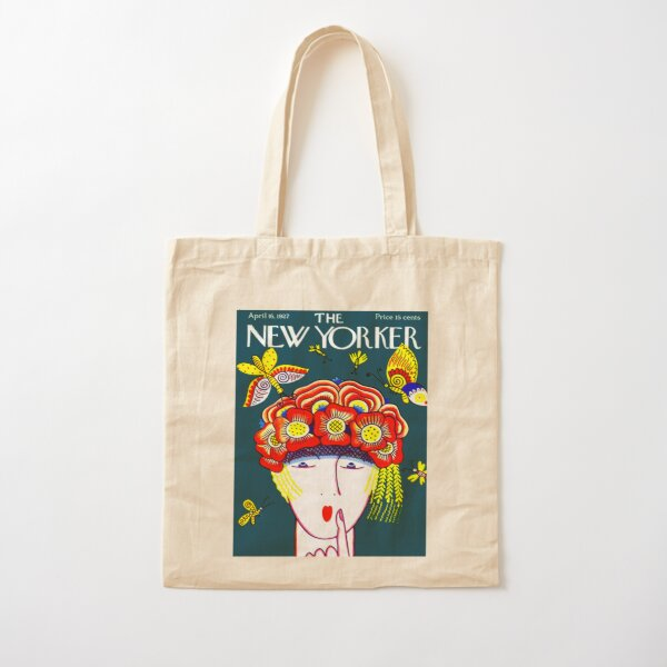 NEW YORKER : Vintage 1927 Flower Hat with Butterfies Print Cotton Tote Bag