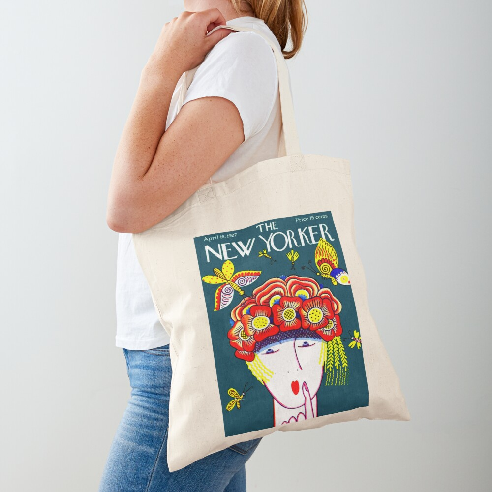 NEW YORKER : Vintage 1927 Flower Hat with Butterfies Print Tote Bag