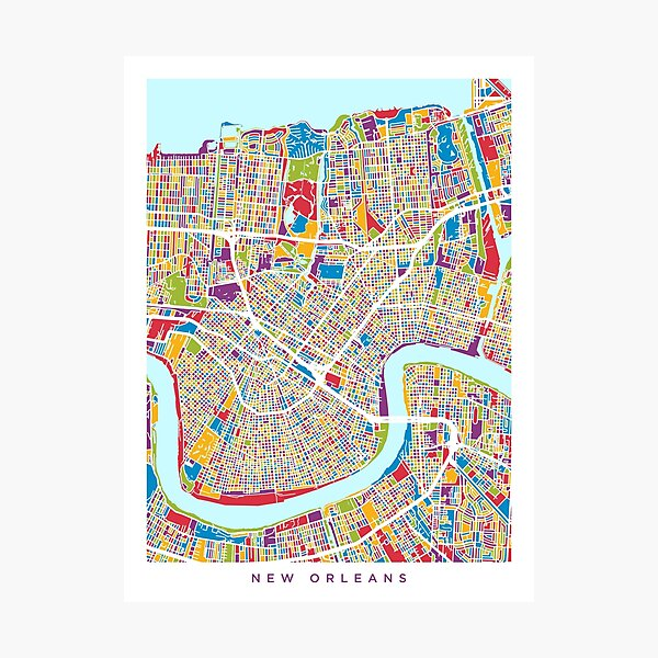 New Orleans Street Map Photographic Print