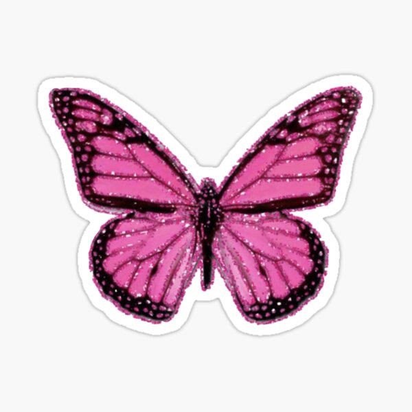 Papillon rose pailleté Sticker