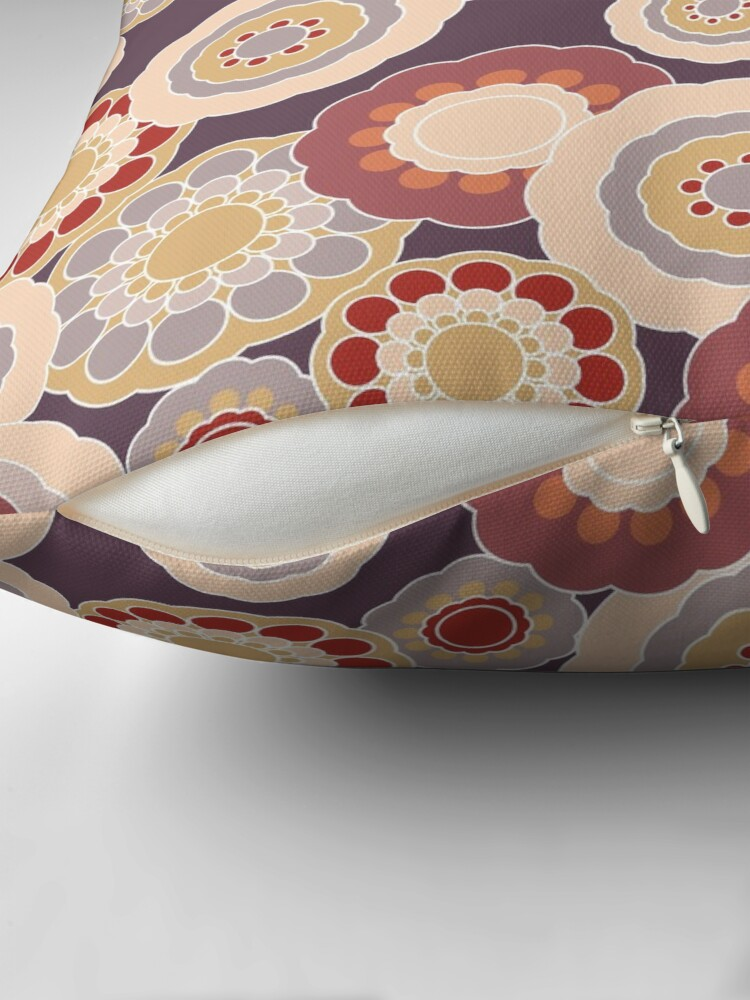 Alternate view of 70s Floral V3 Throw Pillow